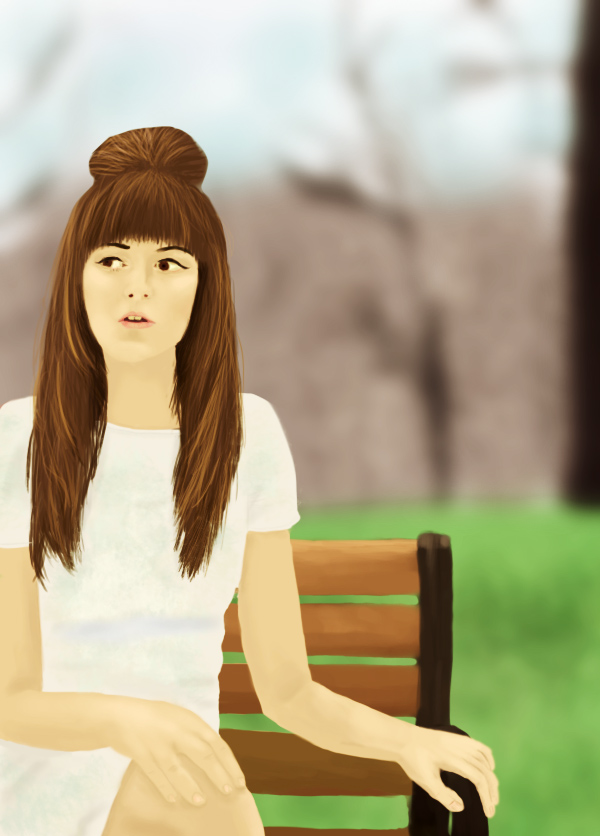 Digital Painting - Girl on Bench